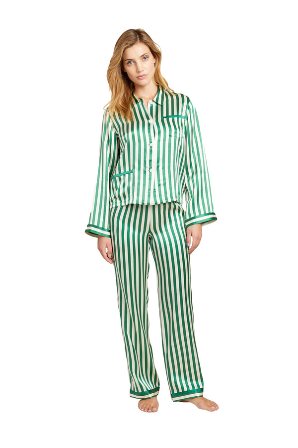 Green and white striped Chantal pajama Pant by Morgan Lane