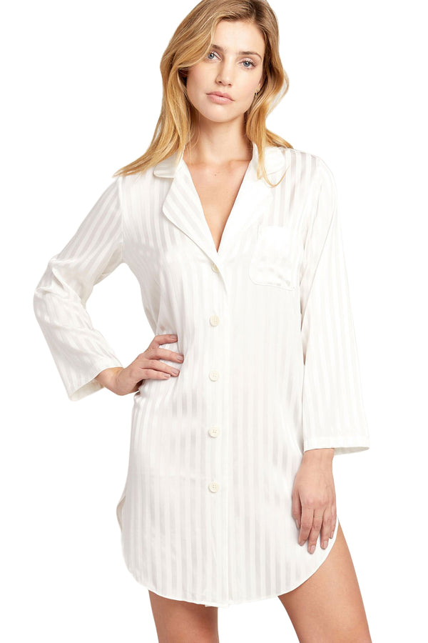 White stripe pattern Jillian Night Shirt by Morgan Lane