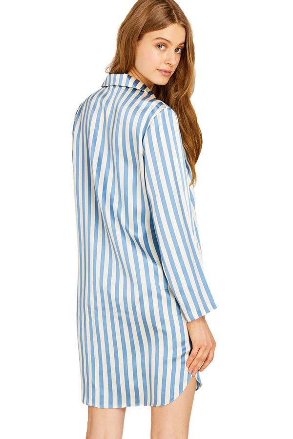 Blue and white striped Jillian Night Shirt by Morgan Lane