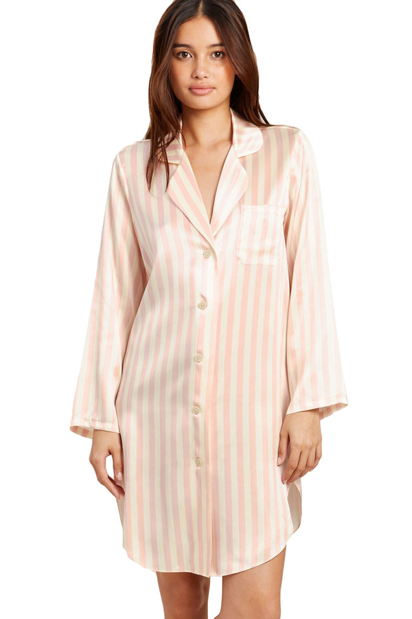 Pink petal striped Jillian Night Shirt by Morgan Lane