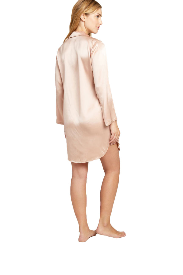 Silk Jillian Night Shirt in Rose Smoke by Morgan Lane