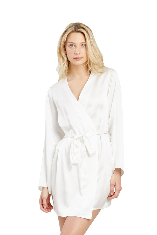 White silk Langley Robe by Morgan Lane