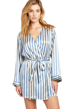 Periwinkle and white striped Langley Robe by Morgan Lane