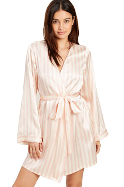 Pink and white stripe Langley Robe by Morgan Lane