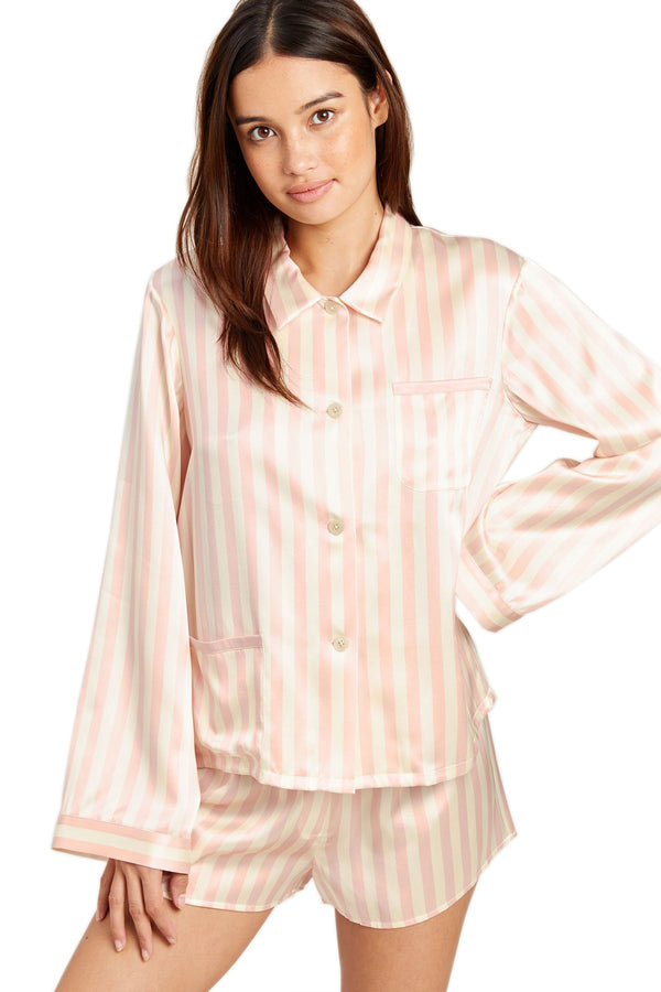 Petal pink striped Ruthie Pajama Top by Morgan Lane