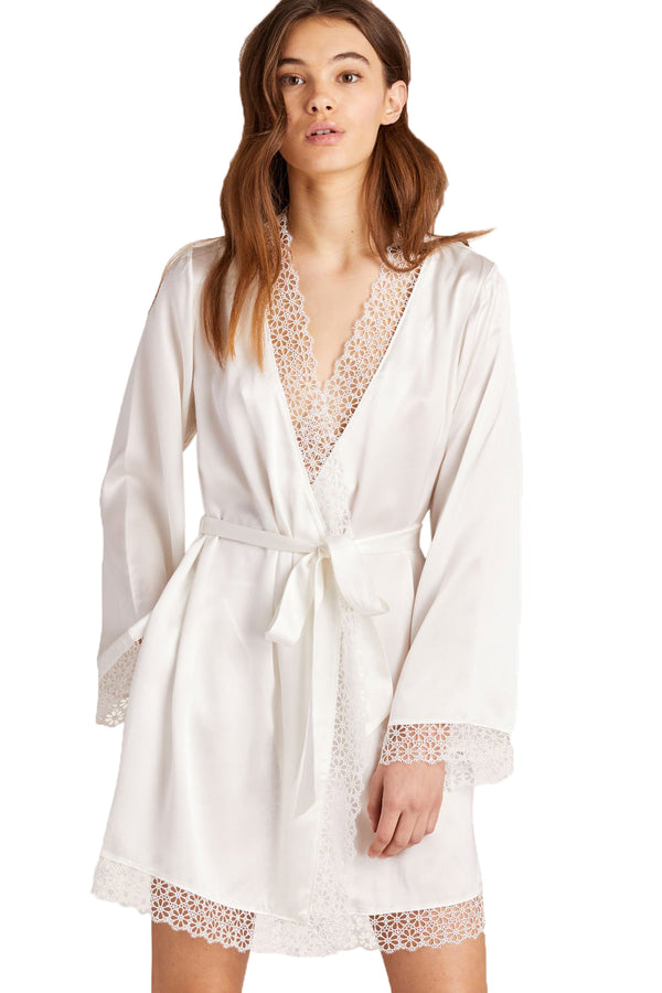 Silk and lace Sera Robe in Chalk by Morgan Lane