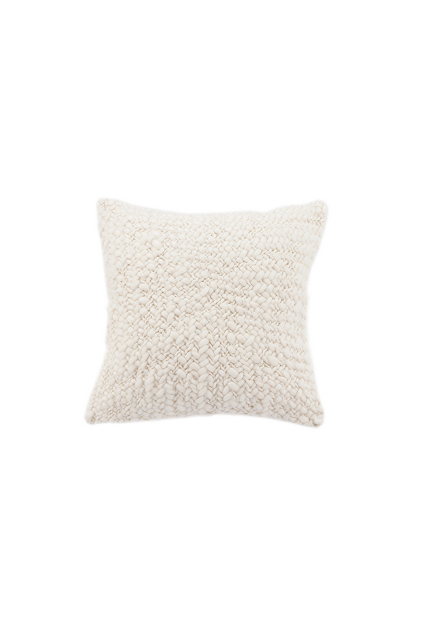 Nube Handwoven Wool Pillow in Ivory by Sien + Co
