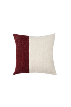 Pila Handwoven Pillow in Ivory and Burgundy Color Block by Sien + Co