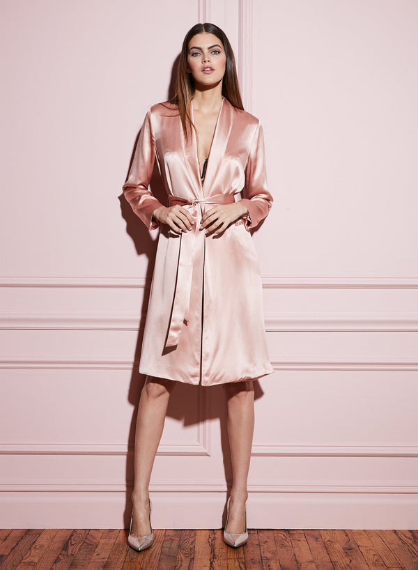 Rosewater Long Smoking Robe by Fleur du Mal