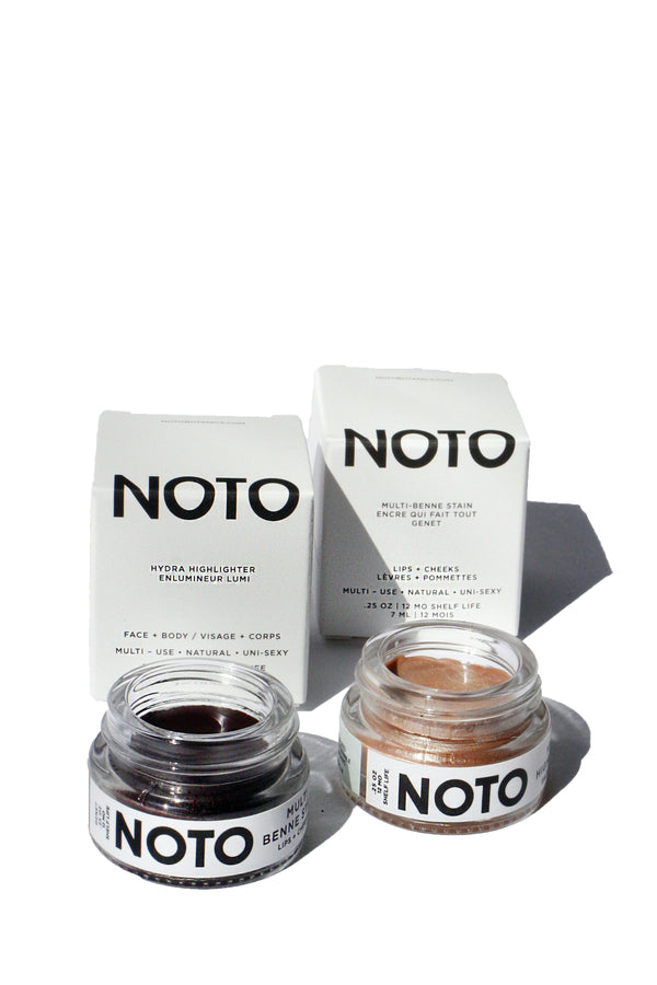 Genet lip and cheek stain and Hydra highlighter pot color set from NOTO Botanics
