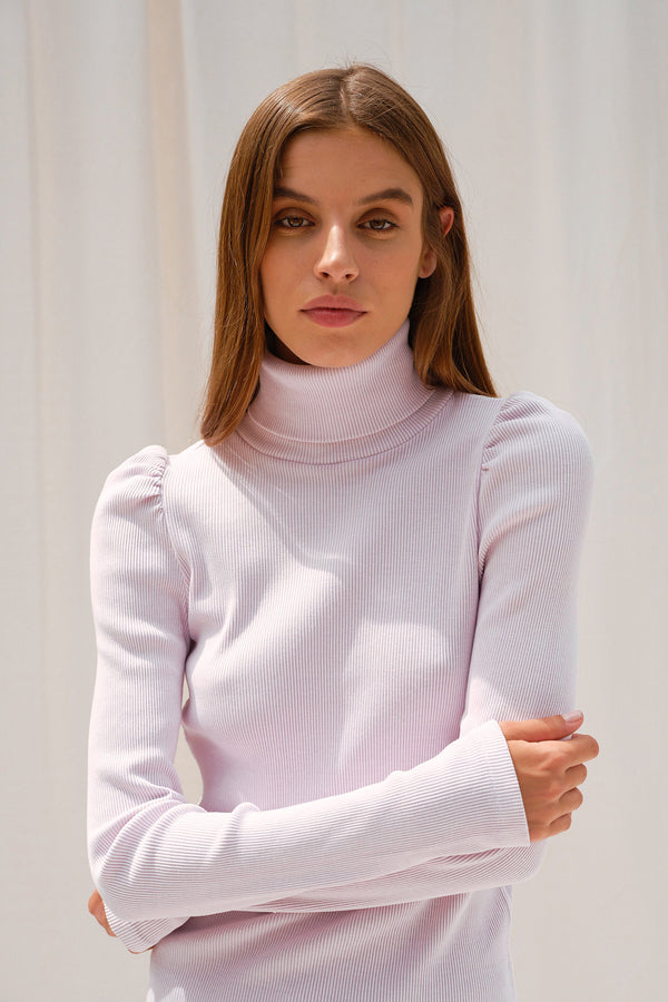 lilac ribbed sweater Puff Sleeve Turtleneck by AMO Denim