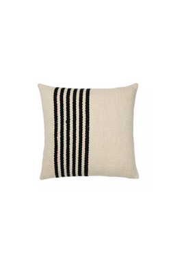 Raya Handwoven Pillow in Ivory and Black Stripes by Sien + Co