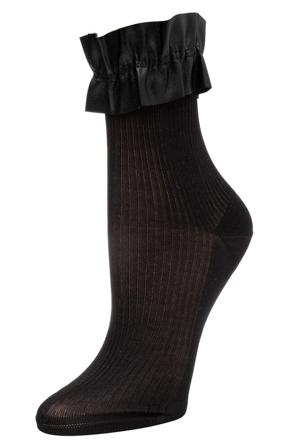 Ruffle Silk Sock in Black | Elizabeth Reid