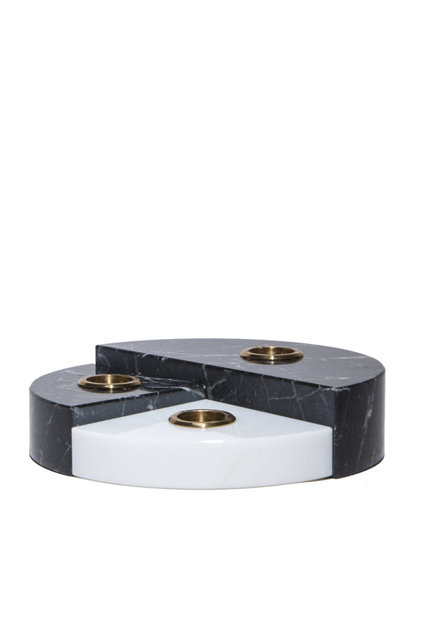Black and white marble candle holder with brass accents from Sesstra