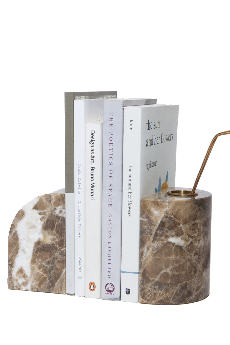 Brown marble bookends with brass accents from Sesstra