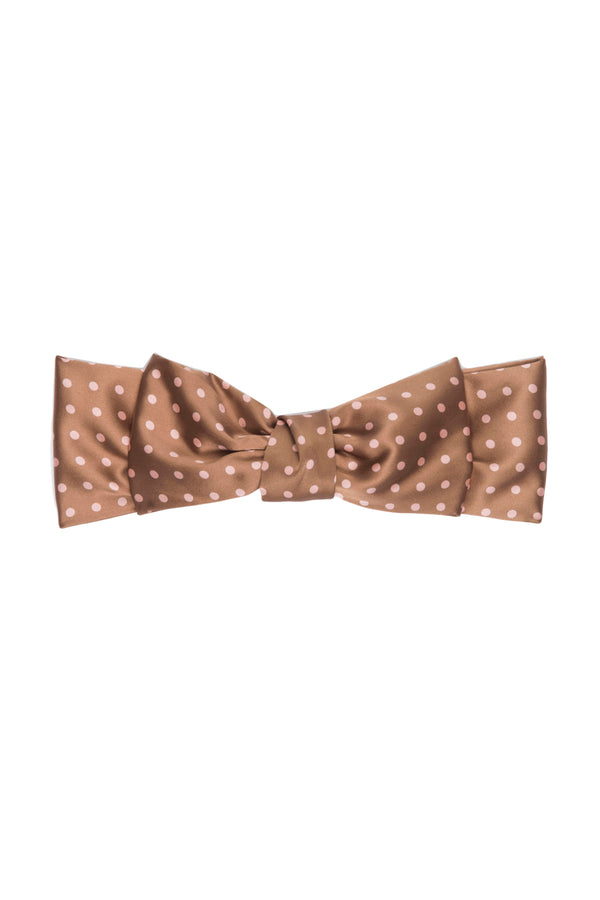 Brown and white polka dotted Silk Lulu Barrette by DONNI