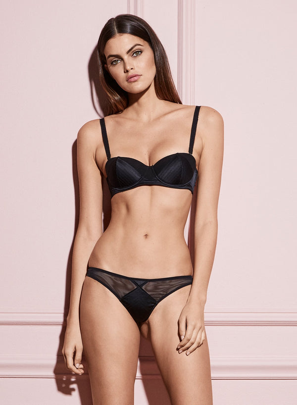 Black Satin Top Stitch Thong by Fleur du Mal