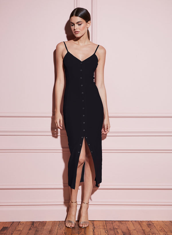 Black Front Snap Dress by Fleur du Mal
