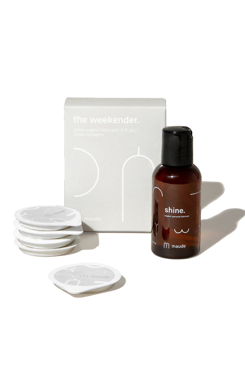 weekender travel pleasure kit with five latex condoms and personal lubricant from Maude
