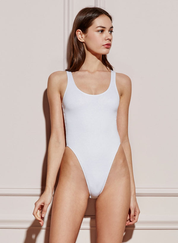 White Scoop Neck High Leg Cotton Bodysuit by Fleur du Mal