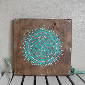 Beachy Bohemian sign with completely hand painted Mandala with no stencil. Surf Shack art by The Salty Life Co.