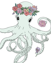 Load image into Gallery viewer, 8X10 PRINT BOHO OCTOPUS IN WHITE