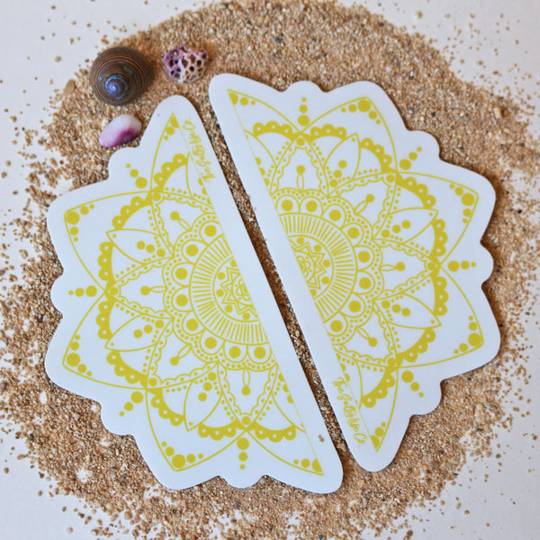 The Salty Life Co's famous hand painted mandalas in sticker form! Surf sticker with a bohemian flair!