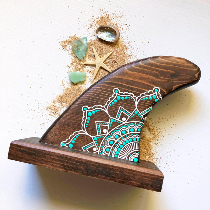 MANDALA WOOD SURF FIN- SEAFOAM BROWN
