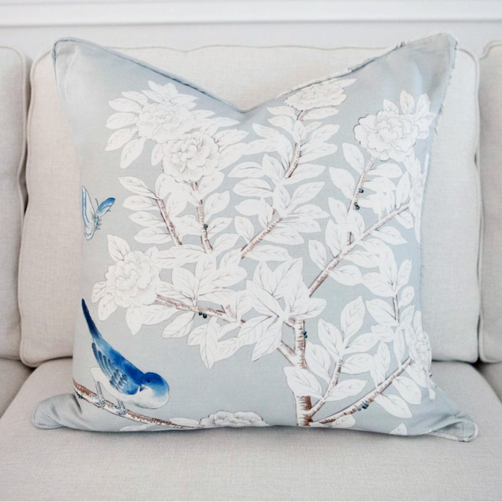 "Chinoiserie painterly pillow-""Waterway"""