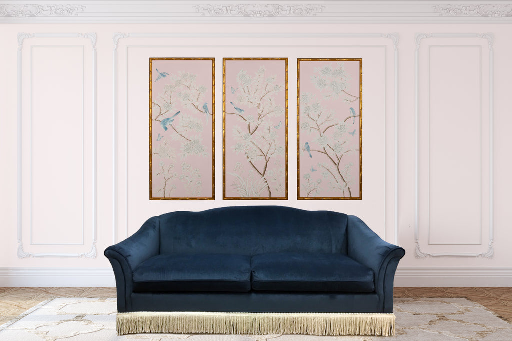 Pink Handpainted Framed Chinoiserie Panels