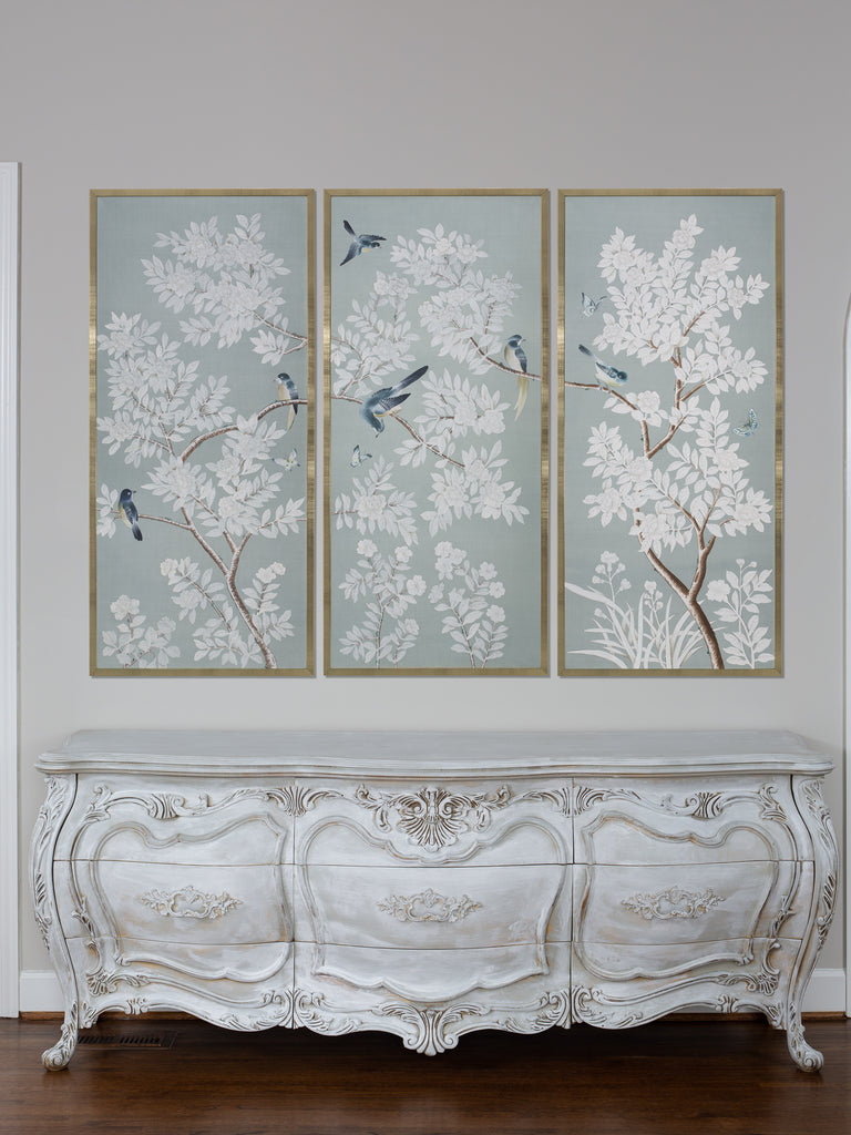 Handpainted Framed Chinoiserie Panels