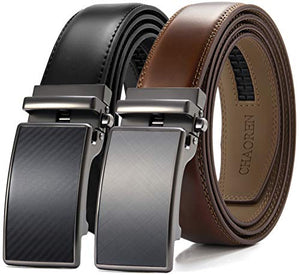 Leather Ratchet Belt 2 Pack Dress with Click Sliding Buckle