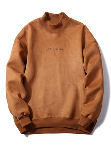 Solid Color Chest Letter Print Suede Sweatshirt - FreshFitForGuys