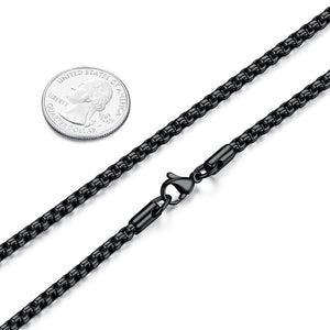 FOSIR 2-4MM Mens Stainless Steel Black Rolo Cable Chain Necklace - FreshFitForGuys