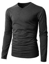 H2H Mens Casual Slim Fit Long Sleeve V-Neck - FreshFitForGuys