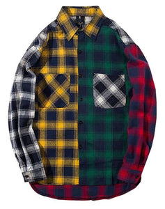 LifeHePatchwork Plaid Shirt - FreshFitForGuys