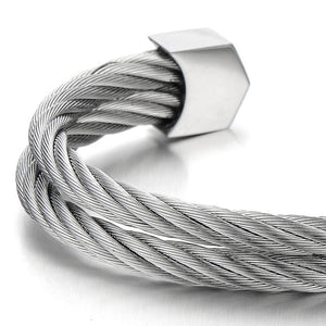Stainless Steel Two Rows Twisted Cable Adjustable Cuff Bangle - FreshFitForGuys