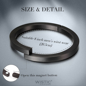 Wistic Black Bracelet with Stainless Steel Bangle Cuff and Magnetic-Clasp - FreshFitForGuys