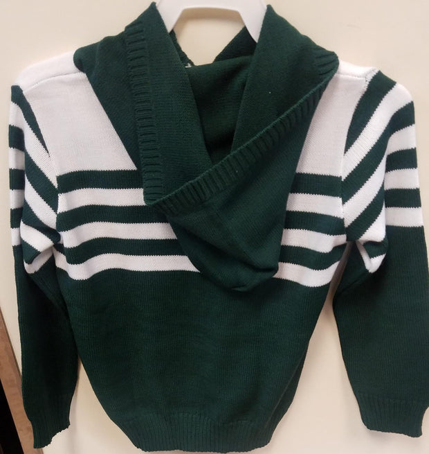 Green & White Striped Hooded Pullover Sweater
