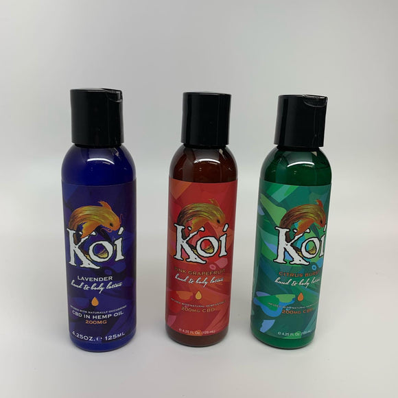 Koi Lotion Citrus Burst 4.25oz 200mg Hand Lotion Pain Relief Arthritis Skin Care