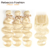 Load image into Gallery viewer, Blonde Bundles With Closure Brazilian Body Wave Remy Human Hair Weave Bundles 613 Honey Blonde Bundles With Closure wig - Vipbeautycompany.com