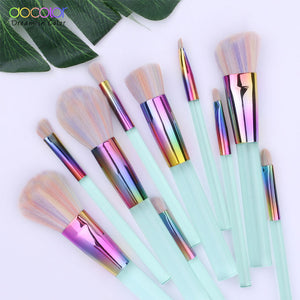 Docolor New 10PCS Makeup brushes Set Light Green Transparent Handles with Colorful Bristle Make up Brushes Super Soft Hair - Vipbeautycompany.com