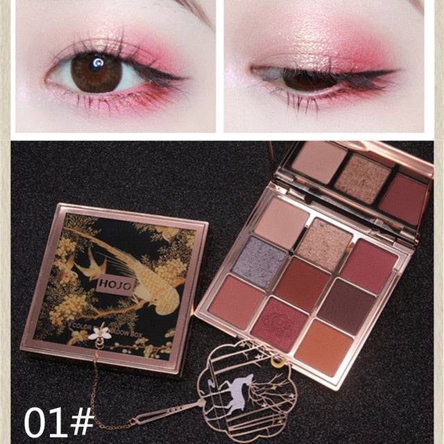 HOJO 9 Colors Shimmer Matte Eyeshadow Palette Makeup Classic Shiny Glitter Luxury Nude Eye Shadow Pigmented Eyeshadow Powder Kit