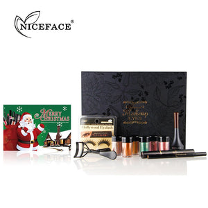 NICEFACE (Christmas set) Glitter Eye Makeup Powder Eyeliner Mascara False eyelashes Eye Shadow Liner Combination Set Beauty