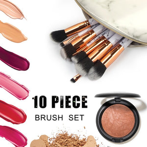 2019 Professional 10pcs Marble Makeup Brushes Set Soft Foundation Powder Eyeshadow Brush Beauty Marble Make Up Tools.w - Vipbeautycompany.com