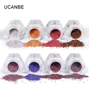 UCANBE Glitter Eye Shadow 8 Colors Loose Powder Pigments Diamond Shine Eyeshadow Waterproof Makeup Metallic Crystal Nude Powder - Vipbeautycompany.com