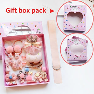 Raindo 18 Pcs/Box Children Cute Hair Accessories Set Baby Fabric Bow Flower Hairpins Barrettes Hair clips Girls Headdress Gift - Vipbeautycompany.com