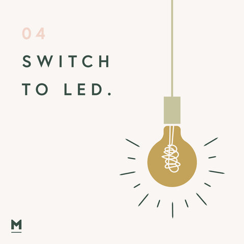 Sustainability at home - Switch to LED lighting graphic