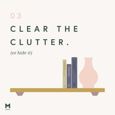 Clear the clutter - wellbeing in the home graphic