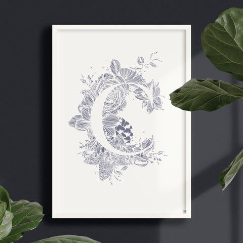 Botanical Alphabet Print – Blue